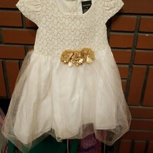White and Gold Formal dress with flowers